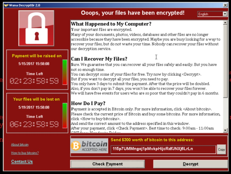 WannaCry's ransom note